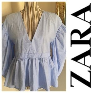 "Zara ""trf collection"" Peplum Top Puffy Sleeve"